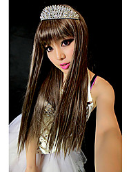 100% KANEKALON Capless Long Straight Flaxen Synthetic Wig Full Bang