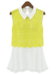 Women's Lace White/Yellow T-shirt , Shirt Collar Sleeveless Lace