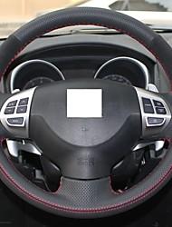 Xuji ™ Черный Натуральная кожа Замша Руль Обложка для Mitsubishi Lancer EX Outlander ASX Colt Pajero Sport