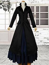 Schwarz Langarm 2-teilig Satin Gothic viktorianischen Kleid