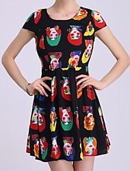 YIMAN® Women's Restoring Ancient Ways Design Round Collar Slim Fit Show Thin Dress