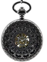 """Мужская """"Перспектива Hollow Цветы Все Черный Круглый Римские цифры Механика Скелет карманные часы"""
