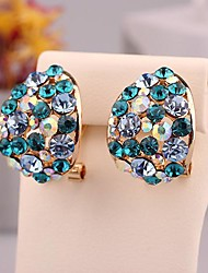 Ювелирные изделия способа дуговой цвета смешивания Позолоченные Павлин С Bule капель воды уха клип для женщин