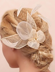 Women's / Flower Girl's Feather / Tulle Headpiece-Wedding / Special Occasion / Outdoor Flowers