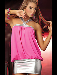 Both Young Women's Color Block Pink / Black Dresses , Sexy / Casual / Party Mid Rise Sleeveless
