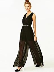 Women's Casual/Plus Sizes Pants , Chiffon Micro-elastic Black