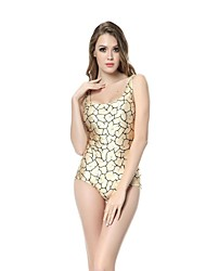 Woman O Neck Print Knitted One-Piece Swimsuit