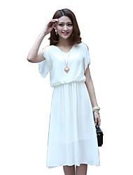 Moda Chiffon vestido de manga curta da Mulher