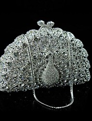 Ladies Luxuriant  Peacock Design Rhinestone Clutch Purse
