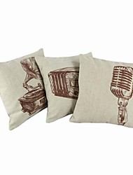 "Createforlife® 18"" Set of 3 Music Art Gramophone Cotton Linen Square Pillow Case Cushion Cover"