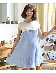 Korean Style Maternity Pleated Chiffon Dress Brief Embroidery Lace Maternidade Clothes