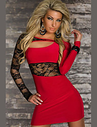 Girls Night Women's Color Block Pink / Red / Black Dresses , Sexy / Casual / Party Mid Rise Long Sleeve