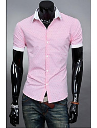 Men's Lapel Colorful Color Matching Short Sleeves Shirt