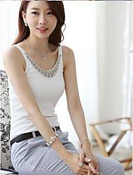 Coréen Plus Size femmes coton diamant décoré Vest T-shirt