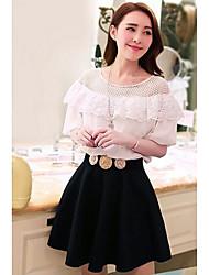 TS Vintage Ruffle Collar Slim Cut Off Shoulder Dress