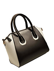 Lady Fashion Black And White PU Leather Tote