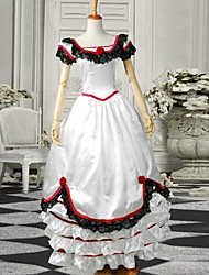 White Short Sleeves Satin Sweet Victorian Dress