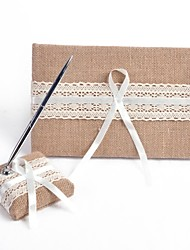 Elegant Linen with Lace Wedding Guest Book and Pen Set Sign In Book