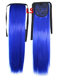 Vendita caldo dei capelli Pezzi Coda di cavallo capelli blu variopinto clip all'ingrosso di capelli 20 pollici di estensione