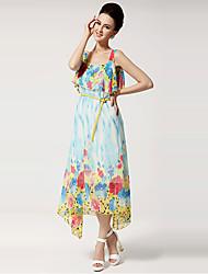 Ouli Frauen weg von den Schulter-Chiffon-Maxi Blue Dress 5008
