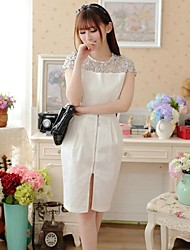 Women's Formal Sheath Dress,Patchwork Crew Neck Above Knee Short Sleeve White Spring / Summer / Fall