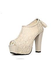 Delia Women's Shoes Peep Toe Platform Chunky Heel Pumps