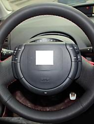 XuJi ™ Black Genuine Leather Steering Wheel Cover for Citroen Triumph Citroen C-quatre