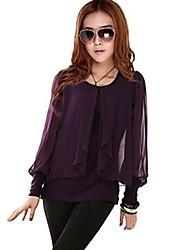 Women's Casual Knitting Chiffon Purple  Blouse