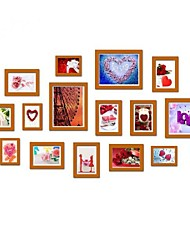 Walnut Color Photo Frame Collection Set of 15