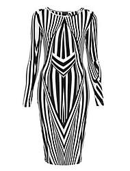 Col rond irrégulier géométrique rayures couture crayon moulante Midi Dress