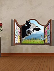 3D The Cow  Wall Stickers Wall Decals