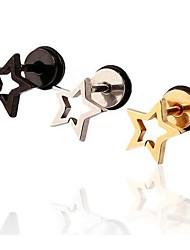 Lureme®316L Surgical Titanium Steel Electroplating Hollow Out Pentagram Single Stud Earrings (Random Color)