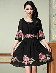 Women's Formal Plus Size Dress,Floral Above Knee ½ Length Sleeve Black Others Spring / Summer