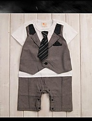 Boy's Round Collar Short Sleeve Shirts + Bow Tie + Striped Vest + Pants Design Brown Cotton Rompers