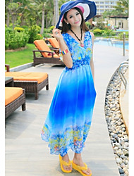MuDiNa  Women's Bohemia Chiffon Elegant Sleeveless Dress(Blue)