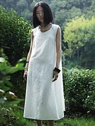 Casual allentato vita Midi Abito in cotone e la canapa con frange maniche e Xianran donne