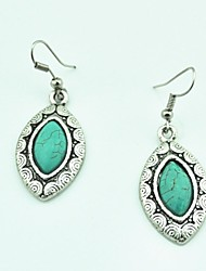 Toonykelly® Vintage Antique Silver  Dangle Turquoise Drop Earring(1Pair)