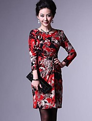 Women's Formal Sheath Dress,Print Round Neck Above Knee ¾ Sleeve Red Others Fall / Winter