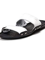 Leather Men's Flat Heel Slide Sandals Shoes(More Colors)