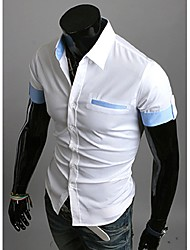 Glory Shirt Collar Folded Cuffs Short Sleeve Contrast Color Shirt