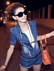 TS Casual Hollow Stand Collar Lapel Jean Jumpsuit