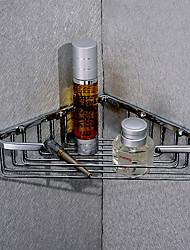 Silver Brass Triangular Corner Storage Basket