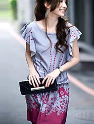 Women's Floral Gray Dress , Casual Round Neck Short Sleeve