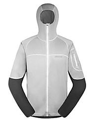 AMADIS Hombres de Blanco + Gris Poliéster manga larga Anti-UV Pesca Jacket