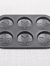 Iron Five Star Non-stick Six Even Cake Bakeware Mould Set of 1 Piece,26x18x2.5cm
