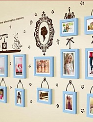 Blue Photo Frame Set of 13 with Wall Sticker