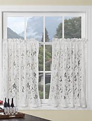 """Land eleganten floralen weißer Spitze Tier Küche Vorhang-Set - 2 Stück, 54 × 26 """"l"""