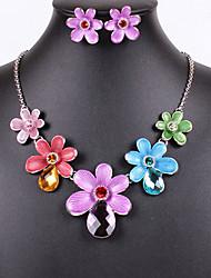 European Luxury Oildrip Rhinestone  Alloy (Necklaces&Earrings&) Gemstone Jewelry Sets()