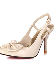 Faux Patent Leather Women's High Heel Pearl en Bowtie Accent Pomp meer kleuren