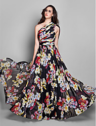 TS Couture® Formal Evening Dress - Elegant / Floral Plus Size / Petite Sheath / Column One Shoulder Floor-length Chiffon with Side Draping / Ruching